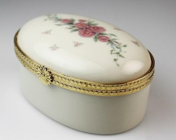 Lenox Oval Hinged Box, Petite Rose, Porcelain, Pink Roses, Ring Box, Vanity Box, Trinket Box, Pill Box