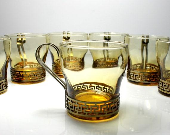 Libbey Amber Coffee Cups, Greek Key Metal Handles, Set of 7, 6 Ounce