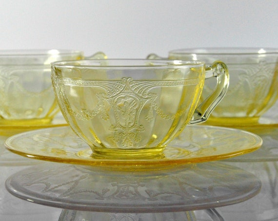 Anchor Hocking Cups and Saucers, Cameo Yellow, Ballerina Cameo and Swag, Scroll Handle, Depression Glass, Collectible, Set of Three