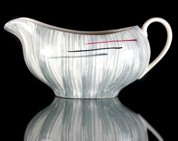 Gravy Boat, Prim Rose China, Gray Stripes, Hand-Painted, Avant-Garde, Art Deco