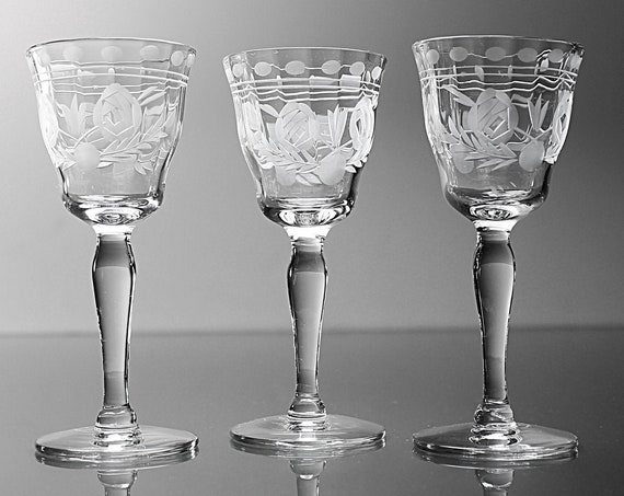 Etched Cordial Glasses, Flower and Leaf Pattern, Set of 3, Stemware, Barware