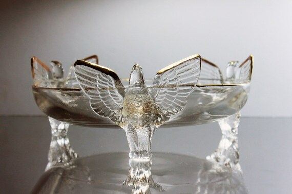 Three Toed Eagle Bowl, Jeannette Glass, Winged Eagles, Clear Glass, Candy Dish, Gold Trimmed, Serving Bowl, Home Decor