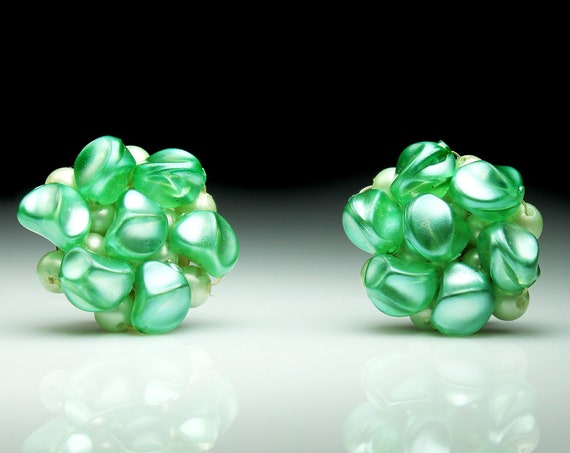 Bead Cluster Clip-On Earrings, Germany Signed, Seafoam Green, Faux Pearl, Gold Tone, Costume Jewelry, Collectible