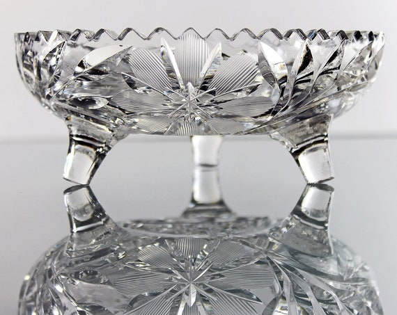 American Brilliant Footed Bowl, Antique Leaded Crystal, Wheel Cut Floral, Clear Cut Glass, Collectible