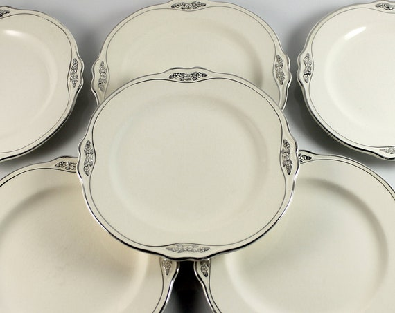 Bread and Butter Plates, Homer Laughlin, Silver Rose-Patrician, Platinum Florals and Trim, Virginia Rose Shape, Set of 6, Fine China