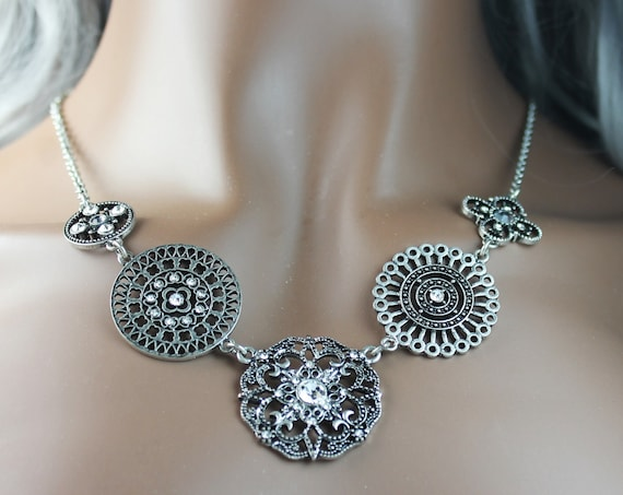 Five Filigree Circle Necklace, Silver Tone, Clear Rhinestones, Boho Style, Costume Jewelry, Woman's Gift