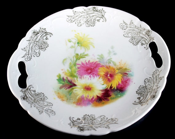 Footed Cake Plate, Hand Painted, Floral Pattern, Embossed, Double Handled, Porcelain, Gold Trimmed, Display Plate