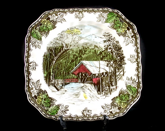 Salad Plate, Johnson Brothers, The Friendly Village, The Covered Bridge, Square, Made In England, Collectible