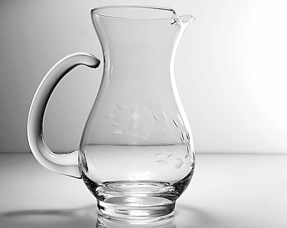 Etched Floral Pitcher, Princess House, Heritage, Ice Lip, Glass Jug, 16 Ounce, Tableware, Barware
