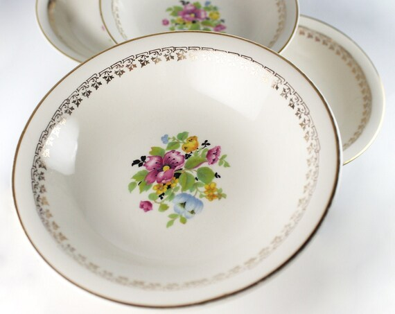 Fruit Bowls, W S George, Derwood Shape, Pink Rose, Gold Trim, Floral Center, Set of Four