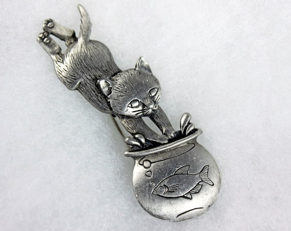 Cat and Fishbowl JJ Brooch, Jonette Jewelry, Pewter, C Clasp Back Pin, Fashion Pin, Costume Jewelry, Collectible, Signed