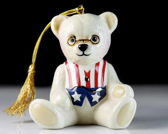 Lenox Christmas Ornament, 'Teddy Bear', Americana, Teddy Roosevelt, Hand Painted, Holiday Decor, Holiday Decoration, Giftware
