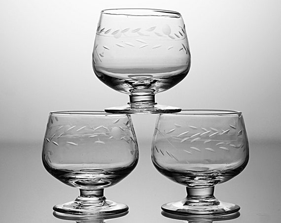 Miniature Etched Brandy Snifters, Floral Pattern, Set of 3, Clear Glass, Barware, One Ounce