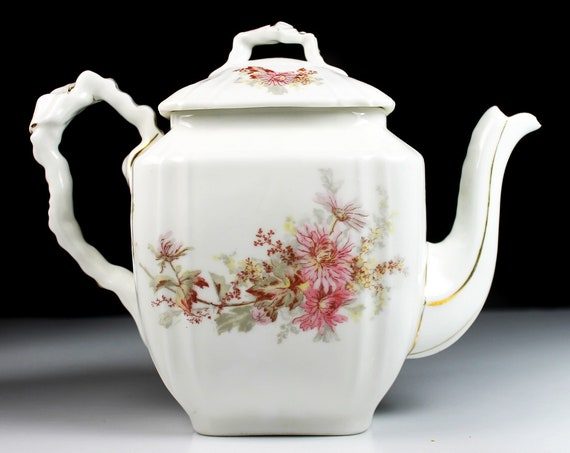 Antique Leonard Vienna Teapot, 4 Cup, Square, Pink Flowers, Embossed, Gold Trim