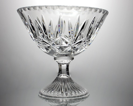 Crystal Footed Compote, Cut Glass, Clear Glass, Centerpiece, Giftware, 7 Inch, Pedestal Bowl