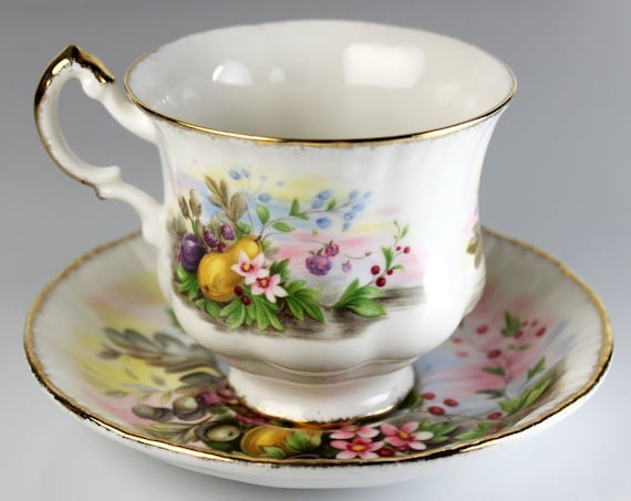 Footed Teacup and Saucer, Paragon China, Marlborough Series, Fruit Pattern, Bone China