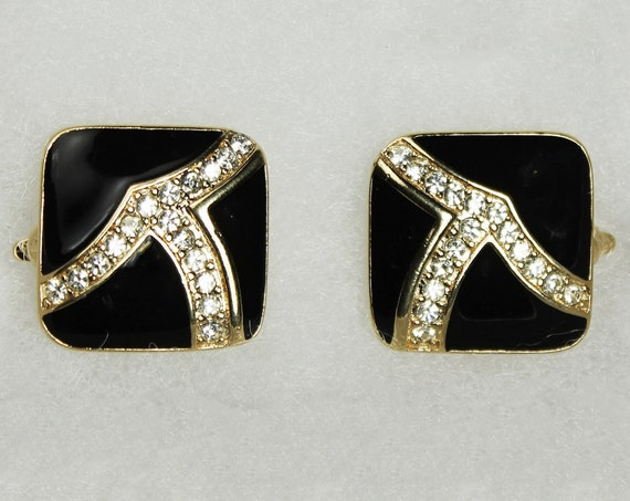 Trifari Clip-On Earrings, Black Enamel, Clear Rhinestone, Signed, Gold Tone, Costume Jewelry, Collectible