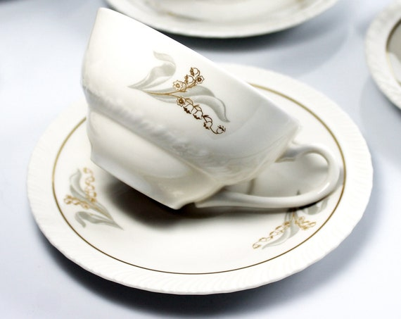 Cups and Saucers, Hanover China, Enchantment, Lily of the Valley, Set of Six, Fine China, Discontinued