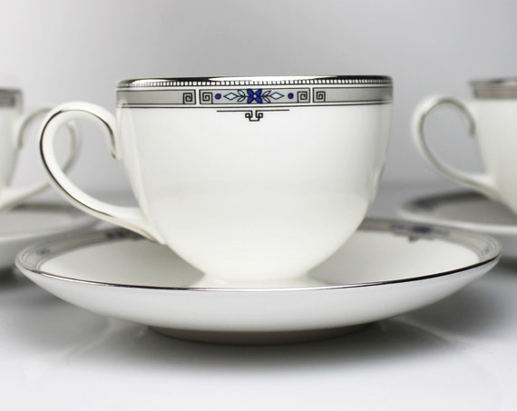 Cups and Saucers, Wedgwood Amherst, Set of 3, Fine China, Platinum Trim, Teacups, Dinnerware