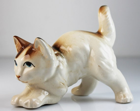 Cat Figurine, Brown and Cream, Cat Statue, Animal Art, Animal Statue, Collectible, Cat Lovers Gift