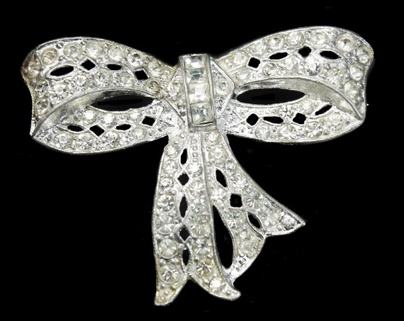 Antique Bow Brooch, Clear Rhinestones, Silver Tone, Fashion Pin, Costume Jewelry, Collectible