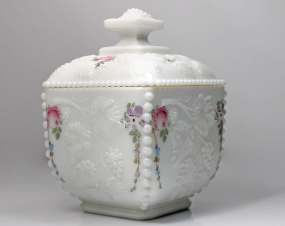 Westmoreland Puff Box, Roses and Bows, Milk Glass, Beaded, Embossed Grapevine, Vanity Box, Wedding Gift