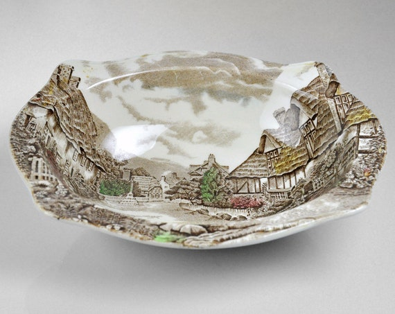 Johnson Bros Vegetable Bowl, Olde English Countryside, Oval Bowl, Brown Transferware, 9 Inch