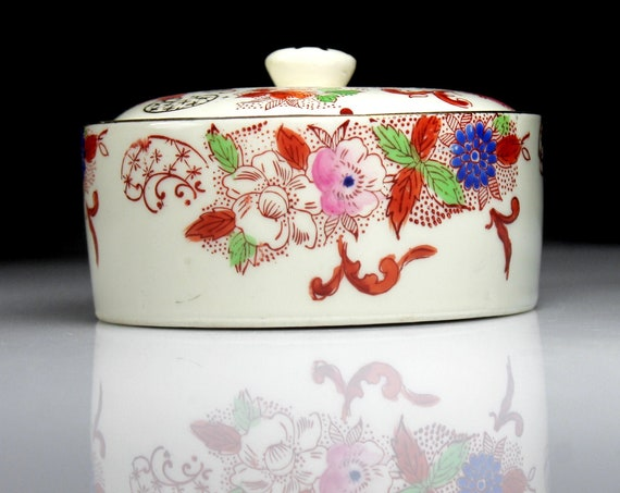 Round Candy Jar, Made in Japan, Hand Painted, Gold Trimmed, Floral Design