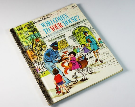 Children's Book, Who Comes To Your House, Little Golden Book, Picture Story Book, Illustrated, Rhymes