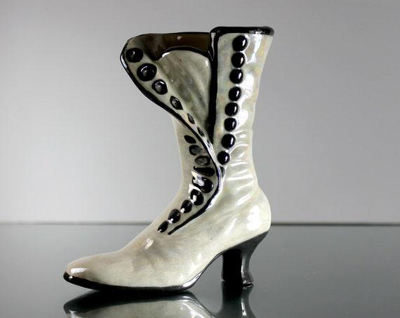Victorian Ladies Boot Figurine, Lusterware, Vase, Planter, Home Decor, Giftware, Collectible