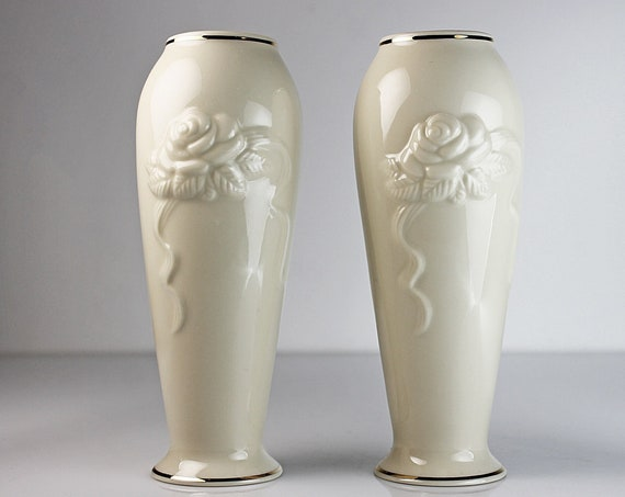 Lenox Bud Vases, Rosebud Collection, Rose Blossom, Embossed, Flower Vases, Collectible