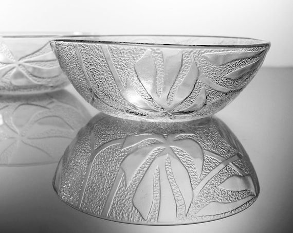 Salad Bowls, KIG Indonesia, Clear Glass, Hibiscus Flower, Textured, Set of 2, Embossed, Cereal Bowls