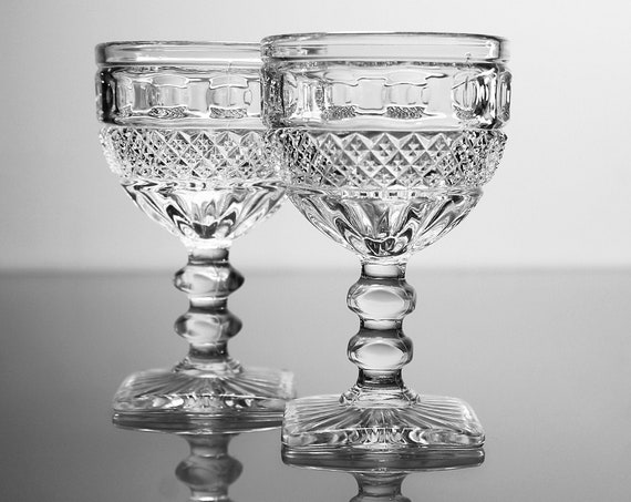 Wine Glasses, Imperial Glass, Tradition, Set of 2, Pressed Glass, Barware, Discontinued, Hard To Find