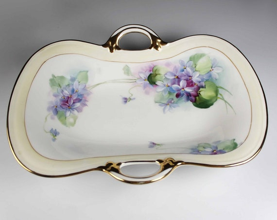 Antique Oval Nippon Bowl, Celery Dish, Hand Painted Violets, Gold Trimmed