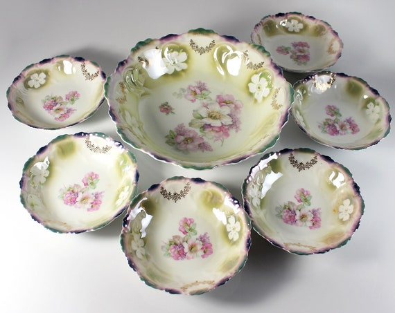 Antique Bavaria Berry Bowls, Lusterware, Embossed, 7 Piece Set, Fruit Bowls, Dessert Bowls, Floral Pattern