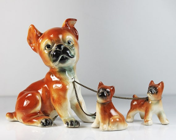 Dog and Puppies Figurine, Sonsco Japan, Dogs On Chains, Boxer Family, Dog Family, Dog Lover's Gift