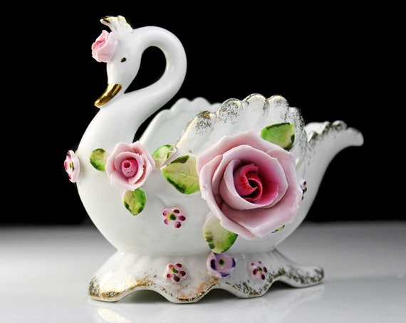 Lefton Swan Planter, Raised Roses, Bird, Figurine, Candy Dish, Collectible Decor