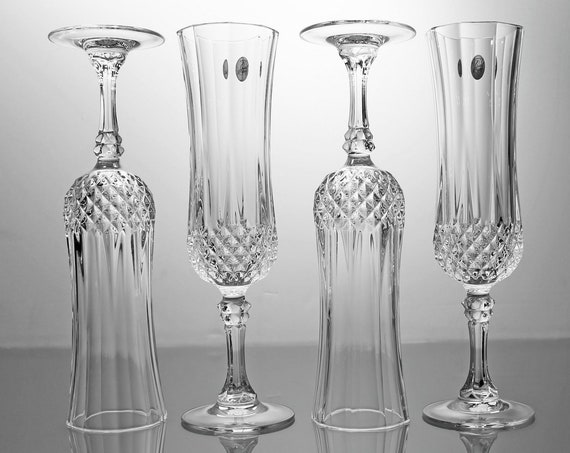 Crystal Champagne Flutes, Cristal D'Arques-Durand, Longchamp, Cut Crystal, Set of 4, Barware, Toasting Glasses