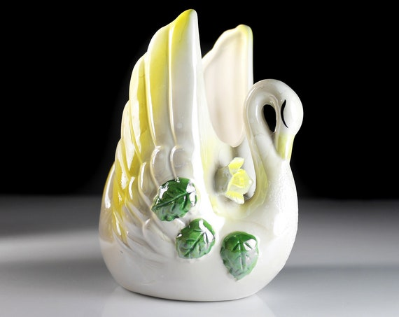 Swan Planter, Yellow Trim, Raised Flowers, Bird, Figurine, Porcelain, Collectible, Decor