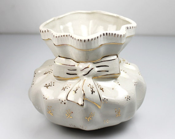 Porcelain Bag Table Vase, Gold Trim, Centerpiece, Flower Vase, Planter