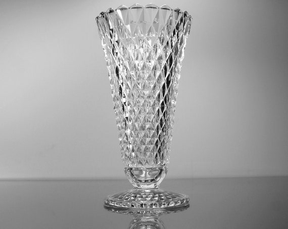 Footed Diamond Table Vase, Indiana Glass, Diamond Point, 8 Inch Vase, Pressed Glass