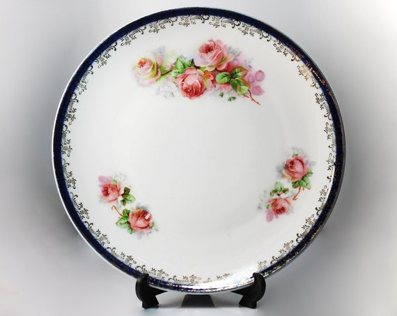 Antique Salad Plate, Masonic Bavaria, Hand Painted, Pink Rose Pattern, Circa 1900s, Display Plate, Gold Trimmed