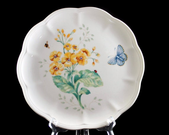 Luncheon Plate, Lenox, Butterfly Meadow, Fritillary, Orange Floral, Butterfly Ladybug and Bee