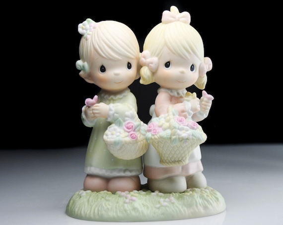 Precious Moments Figurine, To My Forever Friend, Enesco, Girls With Baskets, 6 Inch, Collectible