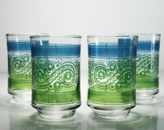 Juice Glasses, Libbey, Paisley, 6 Ounce, Blue and Green, Set of 4, Collectible