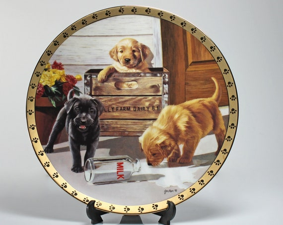 1996 Collectible Plate, Hamilton Collection, Breakfast is Served, Puppy Plate, Limited Edition, Decorative Plate, Wall Decor