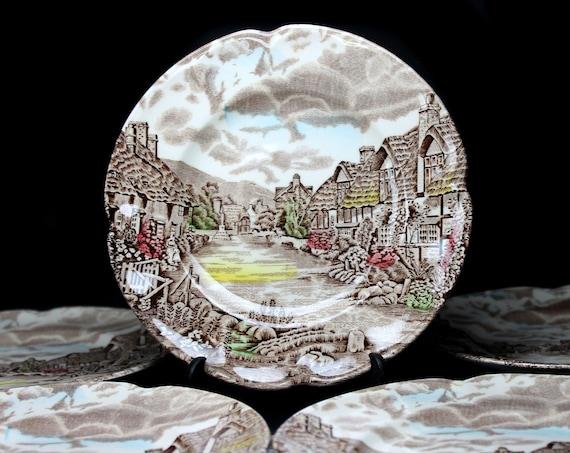 Johnson Bros, Dinner Plates, Olde English Countryside, Set of 5, Brown Transferware, 10 Inch