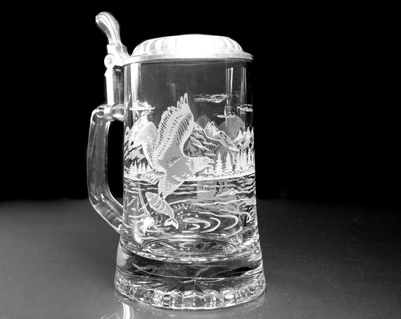 Lidded Etched Beer Stein, Domex Italy, Bald Eagle, Clear Glass, Lidded, Barware