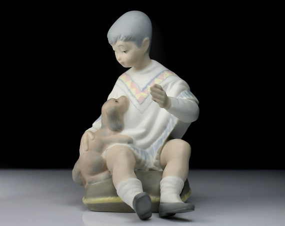 Boy and Dog Figurine, Spanish Bisque Porcelain, 7 Inch, Collectible