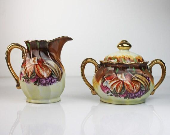 Sugar Bowl and Creamer, Nippon Yoko Boeki Co, Hand Painted, Fruit Design, Gold Trimmed